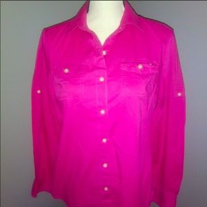 Tommy Hilfiger bright pink button down top